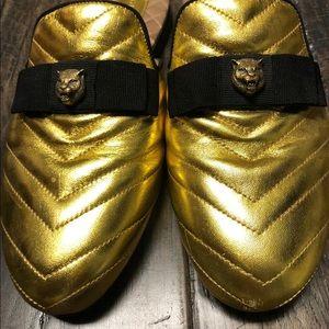 Gucci Gold Metallic Mules